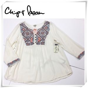 NWT Chip & Pepper Embroidered Boho Blouse Top